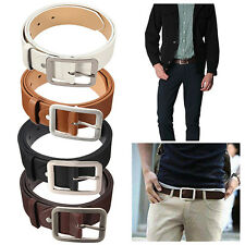 HK- Men's Stylish Casual Waistband PU Leather Buckle Waist Strap Business Belt W