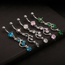 HK- Cubic Zirconia Dangle Bikini Jewelry Belly Button Navel Barbell Ring Clever
