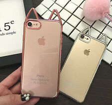 Cute Cat Ears TPU Cover Case For iPhone 6/6S Plus 7 plus Christmas Gift New