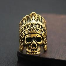 Indian Chief Head Ring Skull Ring Men Stainless Steel Biker Ring Size 7 - 13