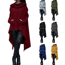 HK- Women Batwing Hooded Casual Loose Coat Pullover Poncho Cape Blouse Convenien
