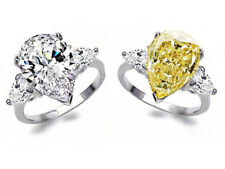 3.2ct White&Yellow Topaz 925 Silver Jewelry Wedding Engagement Ring Size 6-10