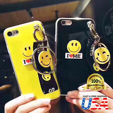 Luxury Cute Yellow Smiley Acrylic TPU Case Cover for iPhone X 8 7 Plus + Chain