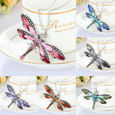 Fashion Retro Silver Pendant Dragonfly Crystal Chain Necklace Jewelry Gift