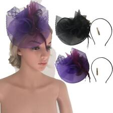 Elegant Feather Fascinator Hat Cocktail Party Church Headpiece Clip Headband