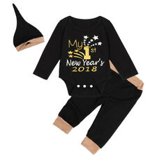 My 1st New Year 2018 Newborn Baby Boy Girls Clothes Set Romper+Pants+Hat Outfits