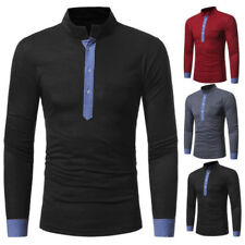 GN- MEN'S STAND-UP COLLAR COLOR BLOCK LONG SLEEVE T-SHIRT CASUAL SLIM FIT TOP FU