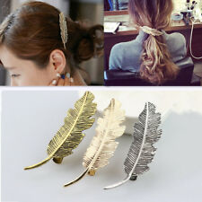 Magideal Elegant Women Alloy Leaf Feather Hair Clip Hairpin Barrette Gifts