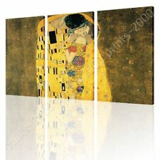 READY TO HANG CANVAS The Kiss Gustav Klimt 3 Panels Oil Painting Print Giclee