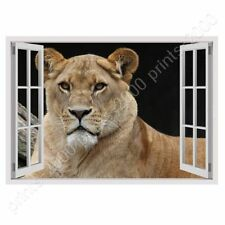 READY TO HANG CANVAS Lion Fake 3D Window Framed Paintings Oil Painting Print