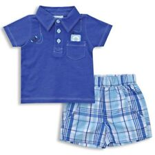 Baby Boy 2 Piece Polo Pocket T-Shirt and Plaid Short Set in Blue - Infant Sizes