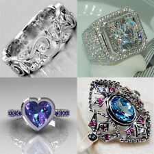 925 Silver Women Men White Topaz Amethyst Wedding Engagement Party Ring Size6-10