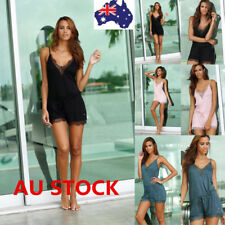 Women V Neck Lace Sleeveless Jumpsuit Summer Beach Party Short Romper Playsuit