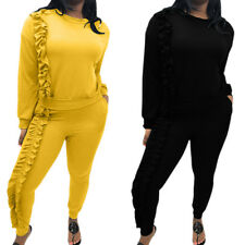 2Pcs Women Ruffle Tracksuit Hoodies Sweatshirt Pants Sets Sport Wear Casual Suit