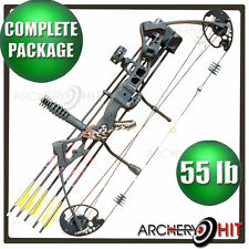 Vulture Black Compound Bow 35-55lb Ready to Shoot Package Target or Hunting