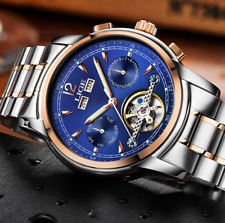 LIGE Mens Skeleton Tourbillon Mechanical Automatic Watch Steel Wrist Watch Gift