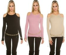 Women's KouCla Cold Shoulder Ribbed Long Sleeve Pullover Top Black Pink Beige OS
