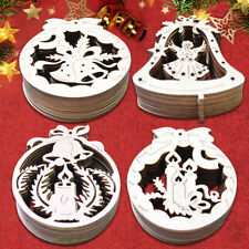 40pcs Wooden Angel Christmas Tree Decorations Gift Tags Merry Christmas 4 Shapes
