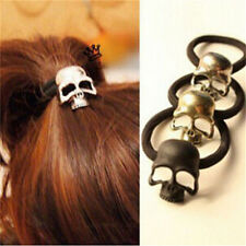 New Punk Skull Hair Tie Cuff Wrap Ponytail Holder Hair Band Rope Accessories YA