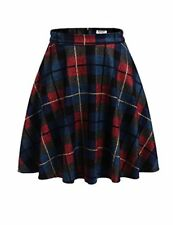 Hotouch Women's Plaid Wool Midi Skirt A-Line Pleated Vintage Winter Swing Skirts