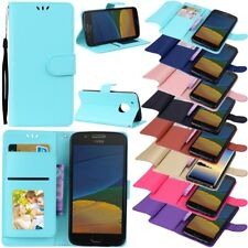 For MOTO G5 Plus/E4 Plus Flip Leather Case Dual Card Stand Magnetic Wallet Cover