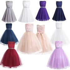 Lace Sequins Flower Girls Princess Dress Kids Baby Wedding Pageant Party Formal