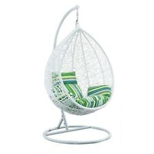 PE Rattan Wicker Hanging Swing Pod Egg Chair With Stand & Cushion Indoor Outdoor