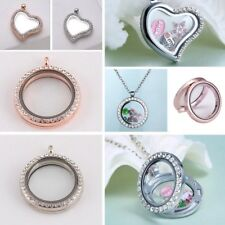 DIY Round Heart Living Memory Floating Locket Charm Pendant Necklace Free Chain