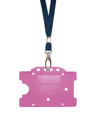 Dark Blue Navy ID Neck Strap Cord Clip Lanyard & Pink Card Badge Tag Pass Holder