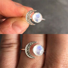 Adjustable Natural Moonstone 925 Silver Women Jewelry Engagement Ring Open Size