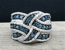 925 Silver Classy Blue Sapphire Wedding Engagement Party  Jewelry Ring Size 6-10