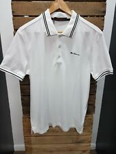 MEN'S BEN SHERMAN SHORT SLEEVE WHITE 0048520 TIPPING POLO SHIRT ALL SIZES M-4XL