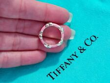 Tiffany & Co Pink Enamel Signature X Sterling Silver Band Ring Size UK J US 5
