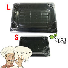 50/100ct Black Take Out Platter Deli Food Sushi Packing Container w/ Clear Lid D