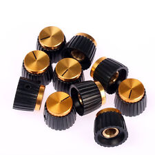 10 x Guitar Amplifier Knobs Black w/ Gold Cap for Marshall Amplifier Set Screw