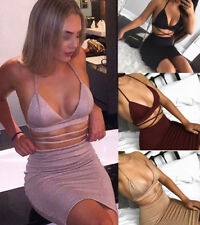 Womens V Neck Bodycon Party Club Dress Ladies Two-piece Sets Crop Top Skirt UK