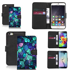 PU leather flip wallet case for many Mobile phones - topaz