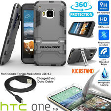 Irony Stand Case,9H Real Glass,Flat Micro USB 2.0 Cable,Car Charger F HTC ONE M9