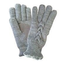 Isotoner Big Girl/Womens Cable Knit Mittens/Gloves Sherpa Fleece New MSRP:$34.00