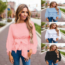 Summer Loose Tops Bandage Blouse Fashion Women Ladies Casual Long Sleeve T Shirt
