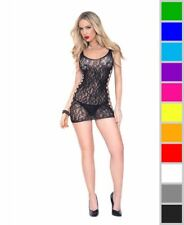 New Music Legs 6796 Heart Design Lace Chemise With Side Cut Out Details