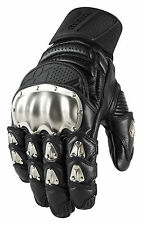 ICON Motosports TIMAX SHORT Leather/Titanium Motorcycle Gloves (Choose Size)