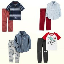 New Carter's Baby/Toddler Boys' 2-Pc Chambray Shirt/ Joggers or Polo/Pant Set
