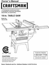 Sears Craftsman Table Saw Owners Manual 152.221040 And Many Other Models Av.