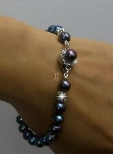 Freshwater Peacock Blue Pearl Love Bracelet Necklace S/ Silver Beads and Clasp.