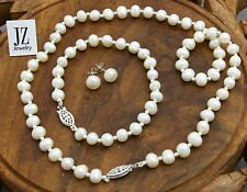 Freshwater Pearl Bracelet Necklace with Silver Beads & ANY S/Silver Clasp