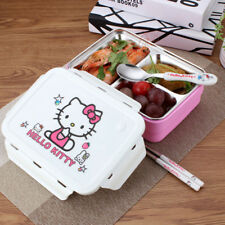 Hello Kitty 2 Tier Lunch Box Girls Bento Lunchbox 3 Compartment School Picnic