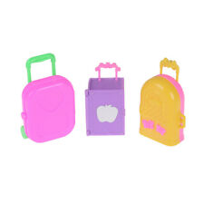 Cute Plastic Rolling Suitcase Luggage Box for Barbie Doll Travel Accessories New