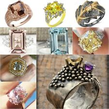 Huge Gemstone Anniversary Party  925 Silver Women Wedding Bridal Ring Size 6-10