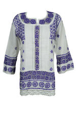 BOHO GYPSY HIPPIE TUNIC BLOUSE TOP ETHNIC INDIAN COTTON HAND EMBROIDERED KURTI